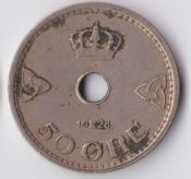 Norway, Fifty Ore 1928 Over 7 Error,  GF, WE658